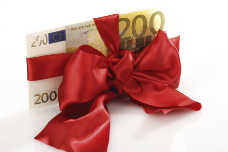 Bunch Of Banknotes Tied As Gift