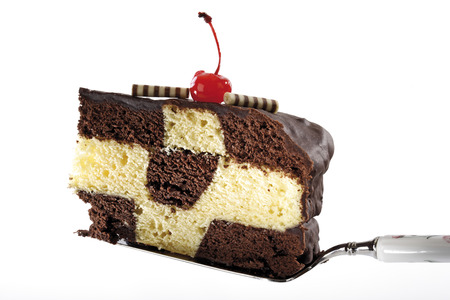 sweetly: Piece Of Chess Cake On Cake Shovel, Close-Up