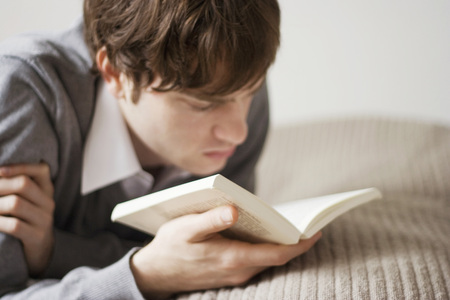 Young Man Reading Book,Portrait