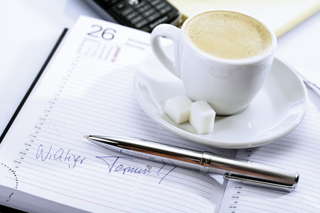 Cup Of Coffee On A Diary, Ball-Point In Front
