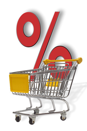 Percent Sign And Trolley,Symbol For Bargain