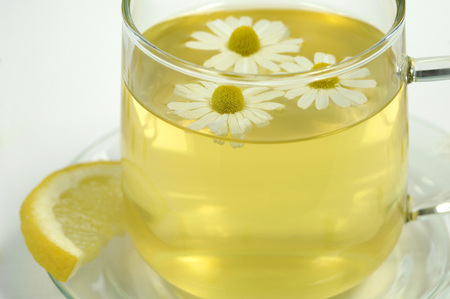 citrons: Chamomile Tea In Glass Tea Cup