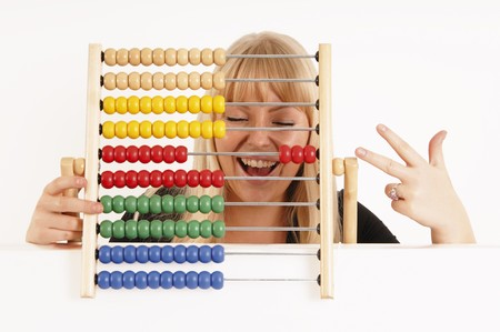 diligent: Young Woman Holding Abacus