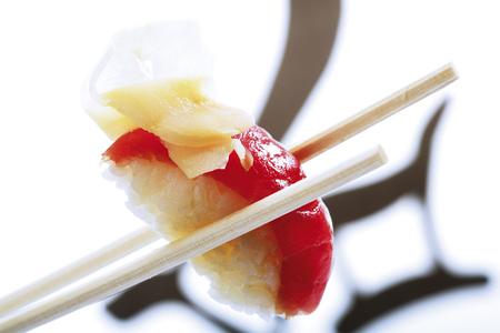 Nigiri Sushi With Tuna And Ginger