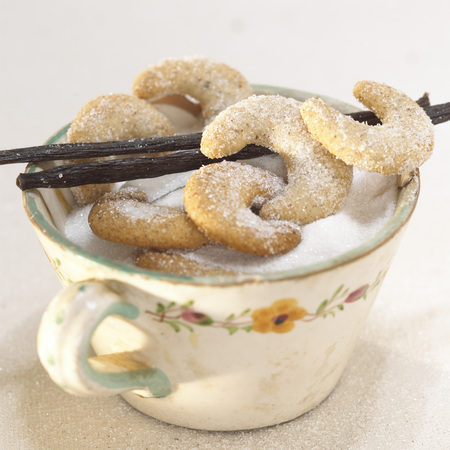 sweetly: Vanillakipferl On Cup With Sugar And Vanilla Sticks