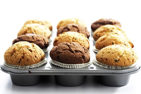 sweetly: Muffins In Baking Tray,Close-Up