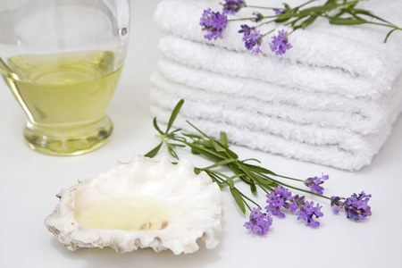 Lavender, Towels And Shell, Close-Up