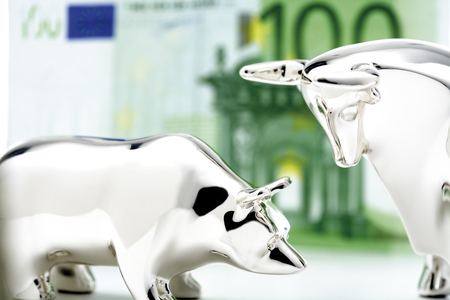 Bull And Bear Figurine, Euro Banknote In Background, Close-Up