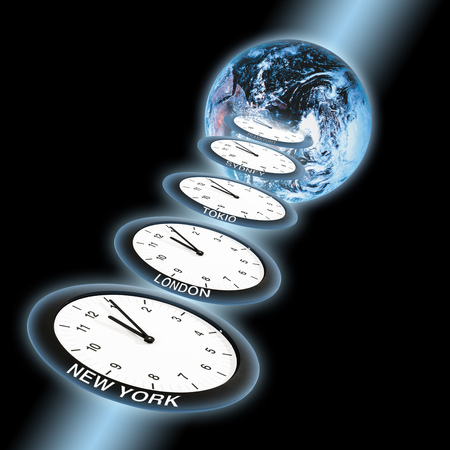 writ: Clocks Showing Five Past Twelve In Front Of World