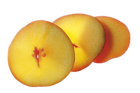 Three Slices Of Nectarine, Elevated View