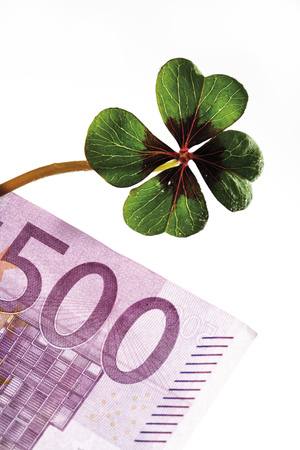 Four-Leafed Clover On 500 Euro Banknote, Close-Up