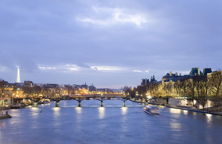 panoramas: France, Paris, Seine, Pont Des Arts Bridge
