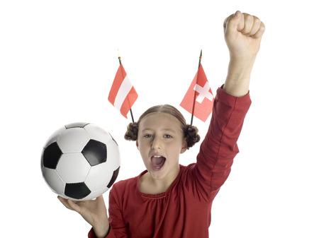 jubilating: Girl (10-13) Holding Football, Austrian And Swiss Flag Aside, Portrait