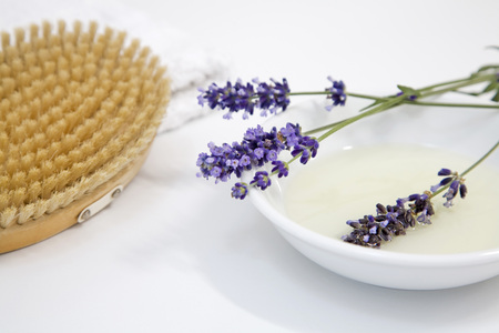 Lavender Flowers On Plate By Brush, Close-Up LANG_EVOIMAGES