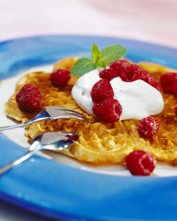 afters: Waffle With Raspberry And Cream