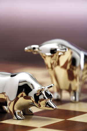 Bull And Bear Figurine On Chessboard, Close-Up LANG_EVOIMAGES