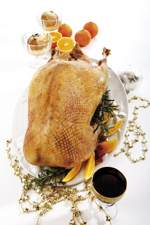 Roasted Christmas Goose, Elevated View LANG_EVOIMAGES