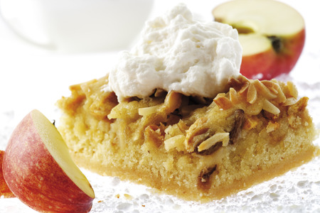 afters: Roast Apple Cake With Cream, Apple Slices, Close-Up