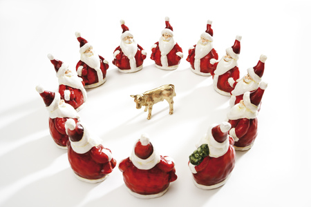 Golden Calf, Surrounded By Santa Clauses