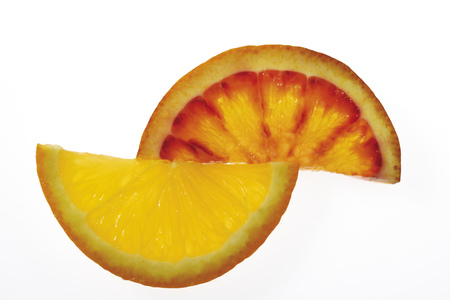 variable: Two Orange Slices, Elevated View, Close-Up