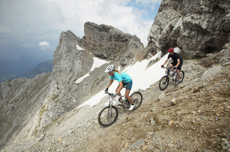 Mountain Bikers On The Way