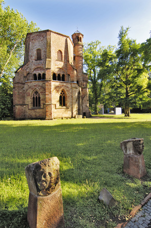 Germany, Saarland, Mettlach, Old Abbey, Park With Steeple