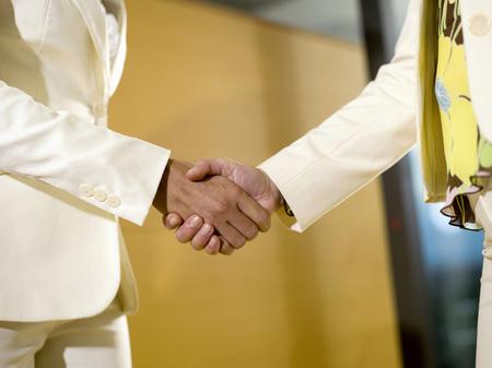 trouser: Two Women Shaking Hands