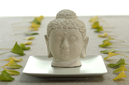 Buddha Head And Ginkgo Leaves