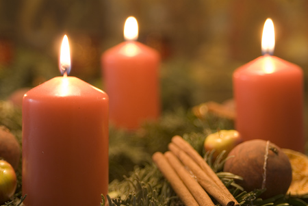 Christmas Decoration With Burning Candles