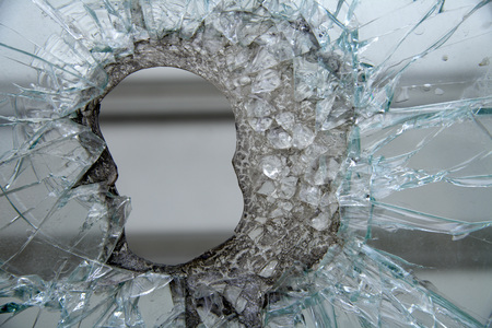 Shattered Store Window, Close-Up