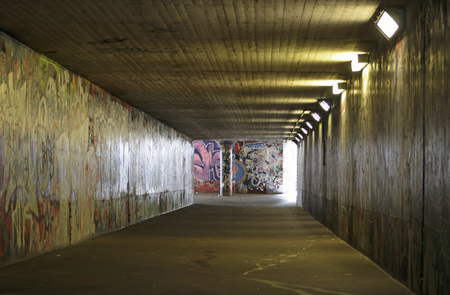 Undercrossing With Graffiti On Wall