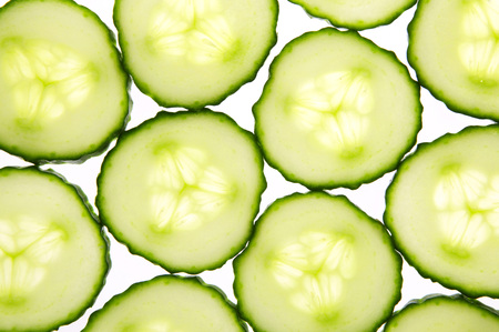 Slices Of Cucumber, Close-Up, Elevated View LANG_EVOIMAGES