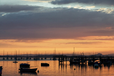 Germany,Allensbach, Lake Constance At Sunset