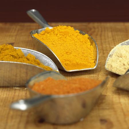 Curry, Curcuma, White Pepper And Chilli Powder In Scoop, Close-Up