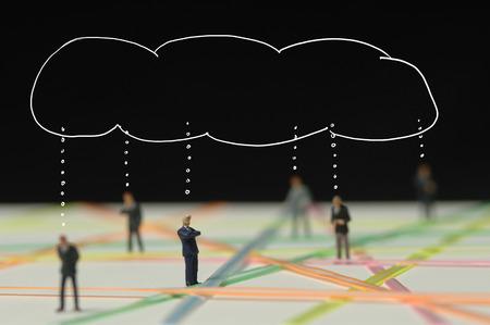 Businessmen Standing Between Plastic Wires LANG_EVOIMAGES