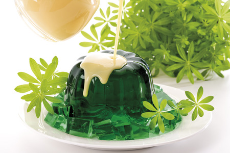 jello: Woodruff Jelly With Vanilla Sauce, Close-Up