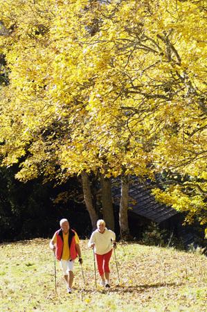 Senior Couple Nordic Walking Outdoors LANG_EVOIMAGES