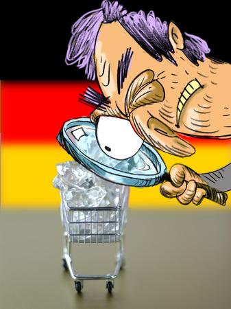 Man Judging Gemstones In Shopping Cart, German Flag In Background