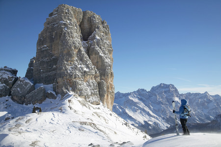 Italy, Dolomite Alps, Woman In Snow, Rear View