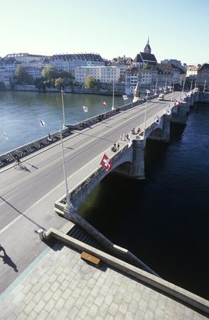 Switzerland, Basel, Bridge, Elevated View