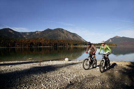 Germany, Bavaria, Couple Mountain Biking