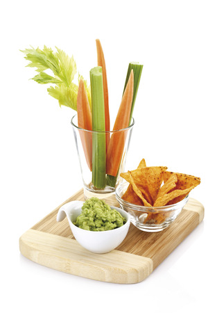 Guacamole With Vegetable Sticks And Tortilla Chips