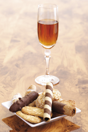 A Glass Of Sherry And Cookies