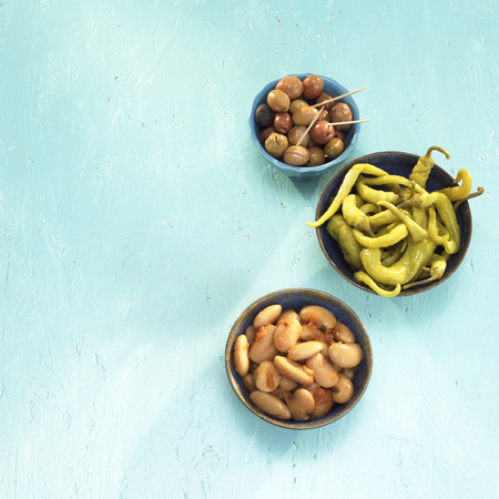 Greek Starters, Pickled Olives, Peperoni And Beans