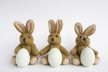 leporidae: Three Stuffed Easter Bunnies With Eggs, Close-Up LANG_EVOIMAGES