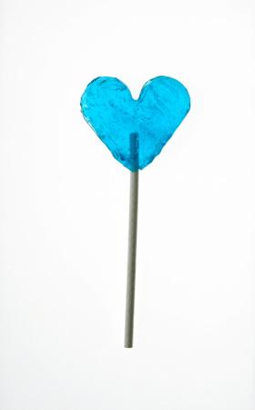 Blue Heart-Shaped Lollipop, Close-Up