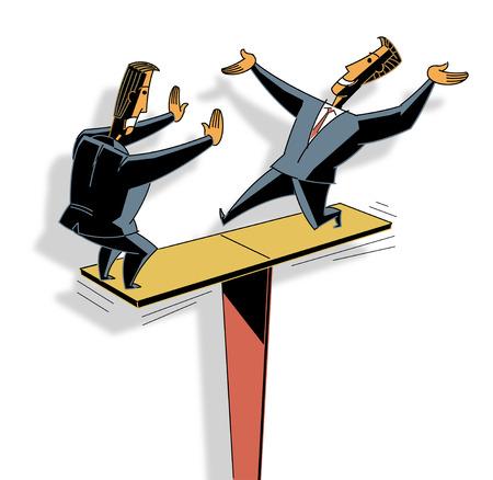 Businessmen Balancing On Board LANG_EVOIMAGES