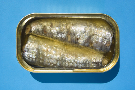 sardine can: Open Tin Of Sardines, Elevated View LANG_EVOIMAGES