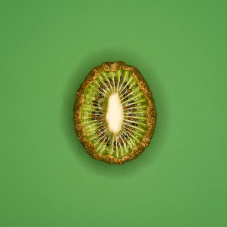 Rotting Kiwi, Sliced, Elevated View