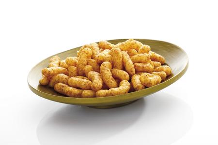 Peanut Puffs On Plate, Close-Up
